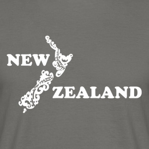 New Zealand: map and lettering in white - Men's T-Shirt