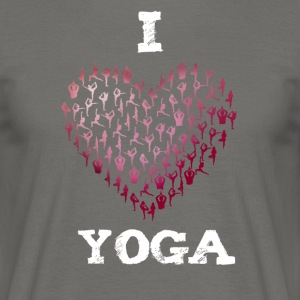 yoga i love heart red yogis namaste budda meditati - Men's T-Shirt