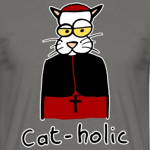 cat-holic handritad - T-shirt herr