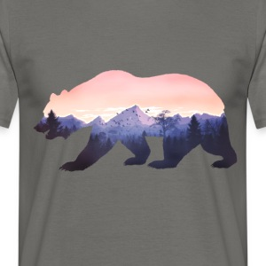 bear grizzly wild mountains rocky cool nature forest fun - Men's T-Shirt