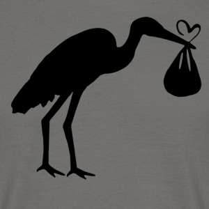 Stork with Baby Maternity Mum with baby bump - Men's T-Shirt