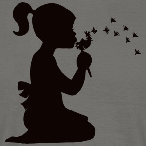 Small affectionate girl blowing dandelion - Men's T-Shirt