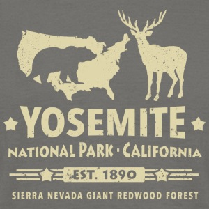 Yosemite National Park California Bear Redwood - Mannen T-shirt