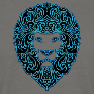 lion with ornament hairs 2 black neon - Men's T-Shirt