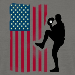 baseball pitcher Team USA Flag Softball Sport tea - Men's T-Shirt