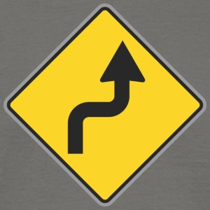 Road Sign right curvy way - Men's T-Shirt