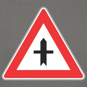 Road sign red triangle both side direction - Men's T-Shirt