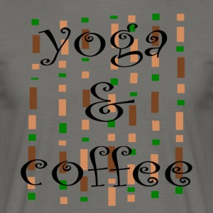 Yoga og kaffe - T-skjorte for menn