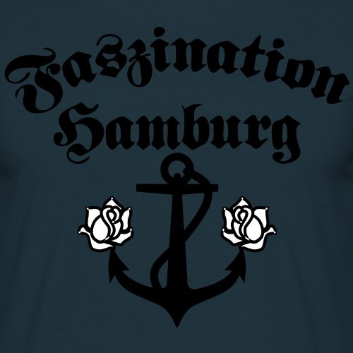 09 Faszination Hamburg Anker rosen 2c - Männer T-Shirt