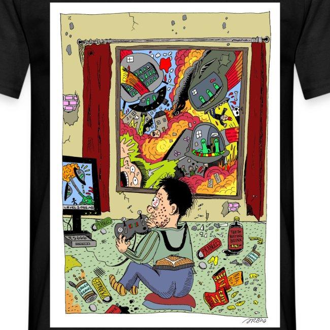 Alien Attacks Teen Cartoon T-Shirt Sam Backhouse