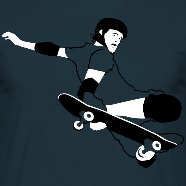 Skateboarder Trick im Sprung