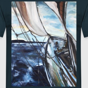 boat sailing vessel Sea Wind storm waves painting - Men's T-Shirt
