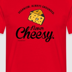 "Funny ""Veganism: Always grounded Never cheesy.."" - Men's T-Shirt"