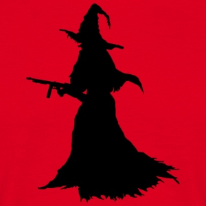 Witch with Assault Rifle / AK for Halloween - Men's T-Shirt