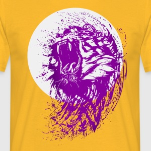 tiger violet wild cool fun lion attack bite cat - Men's T-Shirt