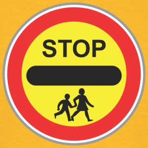 Road Sign Stop met kind - Mannen T-shirt