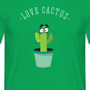 Cactus green Love spines beard hipster plant com - Men's T-Shirt