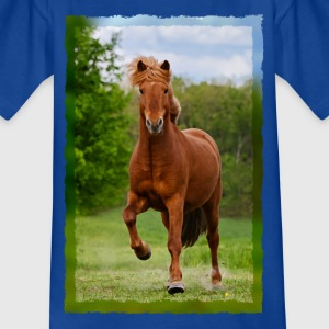 Icelandic horse running in tölt over meadow horse photo - Kids' T-Shirt
