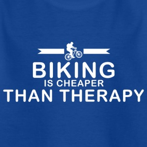 Mountainbiken is goedkoper dan therapie - Kinderen T-shirt