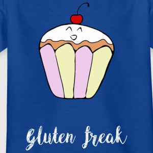 Gluten freak cupcake humor t-shirt wit - Kinderen T-shirt