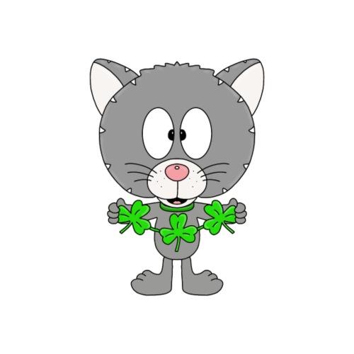 Katze - Kleeblätter - Tier - Kinder - Fun - Kinder T-Shirt