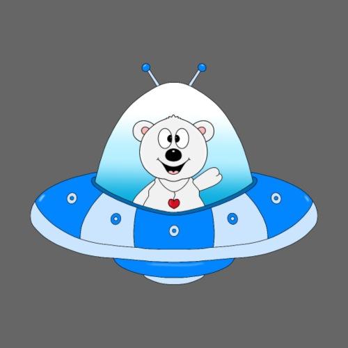 Eisbär - Ufo - Raumschiff - Weltraum - Comic - Kinder T-Shirt