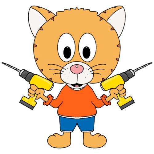 Katze - Handwerker - Beruf - Tier - Comic - Kinder T-Shirt