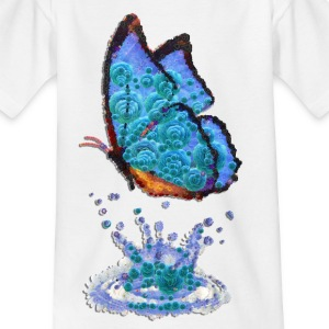 butterfly, blue, water, drops, reflection, butterfly - Kids' T-Shirt