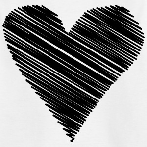 heart scribble black drawing minimal love - Kids' T-Shirt