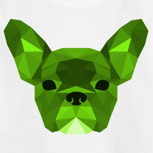 Low Poly Frenchie groen - Kinderen T-shirt