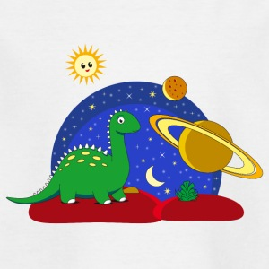 Dinosaur Space Space Saturn månen Planet - Børne-T-shirt