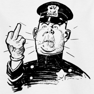 Furious policeman shows Ms. Finger - Kids' T-Shirt