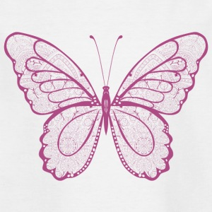 Papillon en rose, tiré par la main - T-shirt Enfant