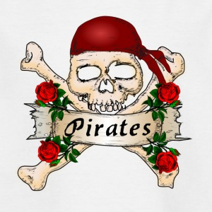 Pirate head with roses, In the name of the rose - Kids' T-Shirt