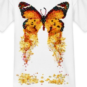 Butterfly, orange, flowers, yellow, spring - Kids' T-Shirt