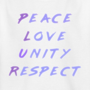 Peace Love Unity Respect PLUR blå lila - T-shirt barn