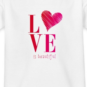 love is promise beautiful heart typo pink before - Kids' T-Shirt
