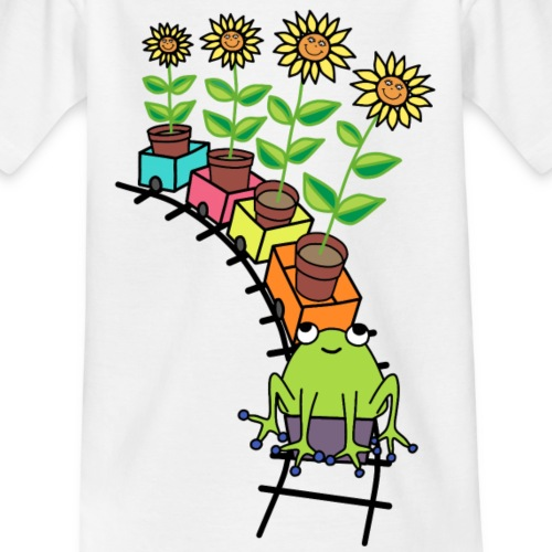 frog on train - Kids' T-Shirt