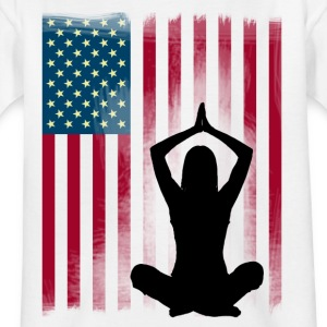 yoga-america Buddha lotus position flag US woman - Kids' T-Shirt