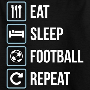 Eat Sleep Football Repeat - Kinder T-Shirt