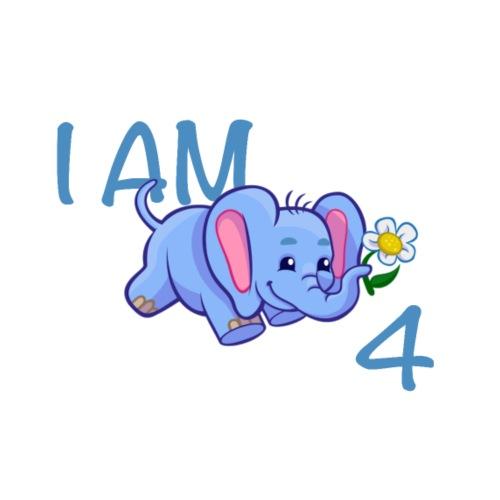 I am 4 - elephant blue