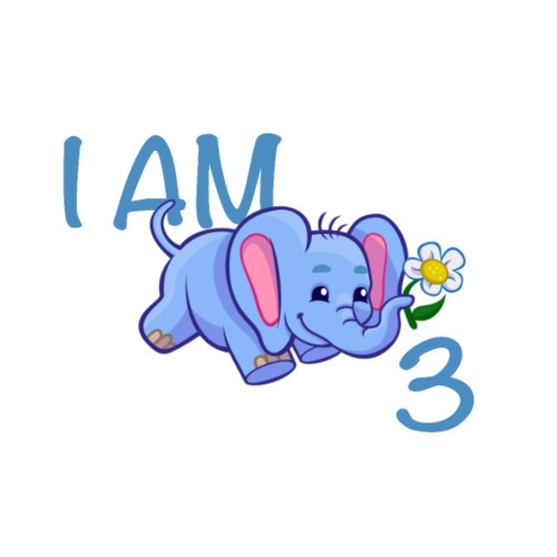 I am 3 - elephant blue