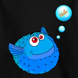 Cute Blue Puffer Fish - Kids' T-Shirt