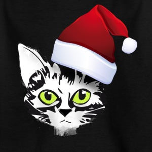 noël chat de Santa Kitty visage mignon fourrure vert - T-shirt Enfant