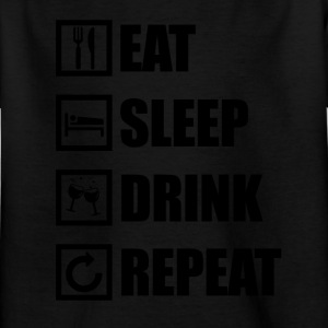 EAT SLEEP DRIKKE REPEAT - Børne-T-shirt