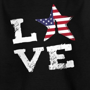 Love USA Amerika flag stolt juli 4 Nationale lol - Børne-T-shirt