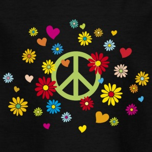 Peace Sign Flower Heart Flower Child Valentine - Kids' T-Shirt