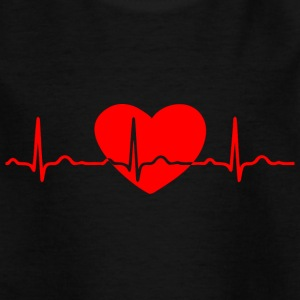 ECG HEART LINE HEART red - Kids' T-Shirt