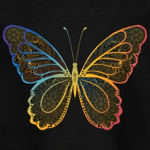 Butterfly in regenbogefarben hand drawn, - Kids' T-Shirt