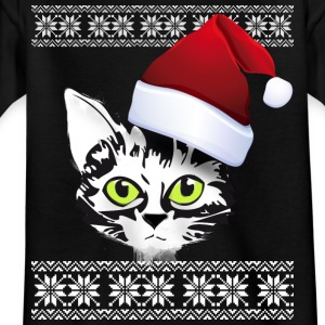 Christmas cat snow winter red cap meow gir - Kids' T-Shirt